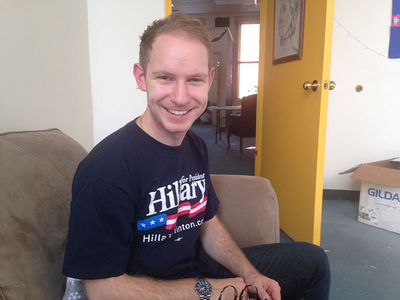 Zach Singer, from New Yokr City is a volunteer for Hillary Clinton in New Hampshire. Photo by Lilly Maier