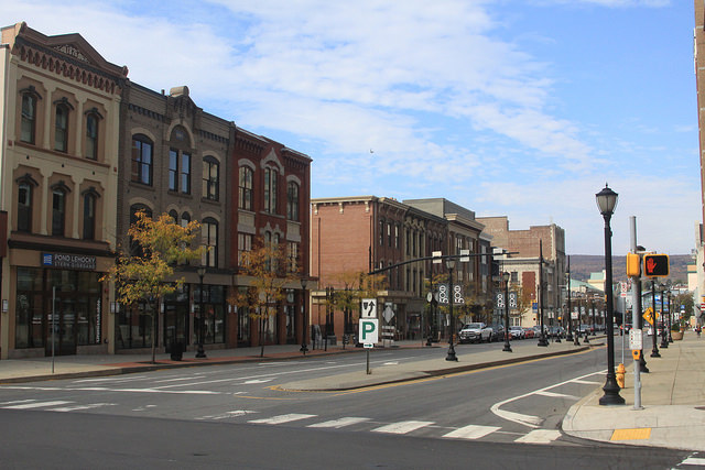 Revitalized downtown street view on Lackawanna Avenue, Scranton. Photo by Wolfie Zhao