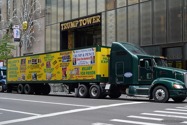 The Hillary truck in front of Trump Tower. Photo by Charles Rollet