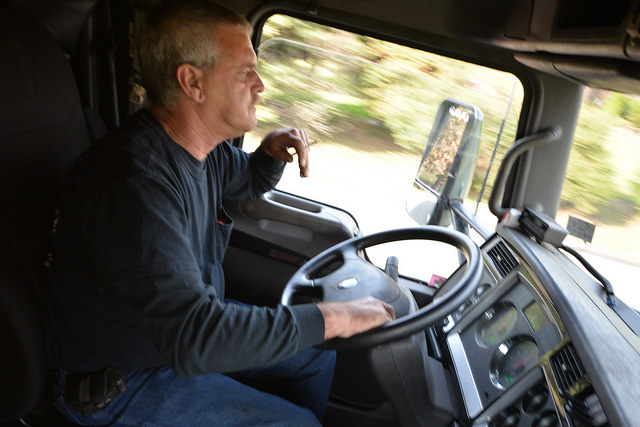 "Tom Mazurick drives the ""Hillary Truck"" back to Scranton after a successful trip to New York. Photo: Charles Rollet"