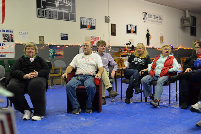 "Trump supporters watch Fox News at a Halloween party in the ""Deplorable Volunteer Center"" in Scranton on the night of Saturday, Oct 29. Photo: Charles Rollet"