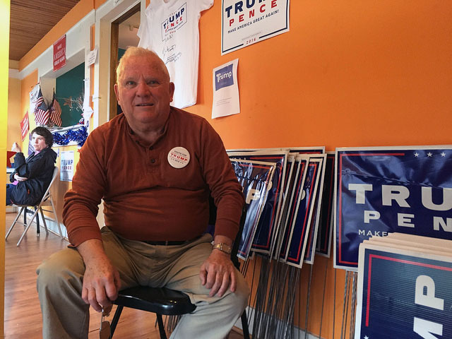 Tom Kenney, a 71-year-old retired policeman, volunteers at the Trump campaign office in Scranton. Photo by